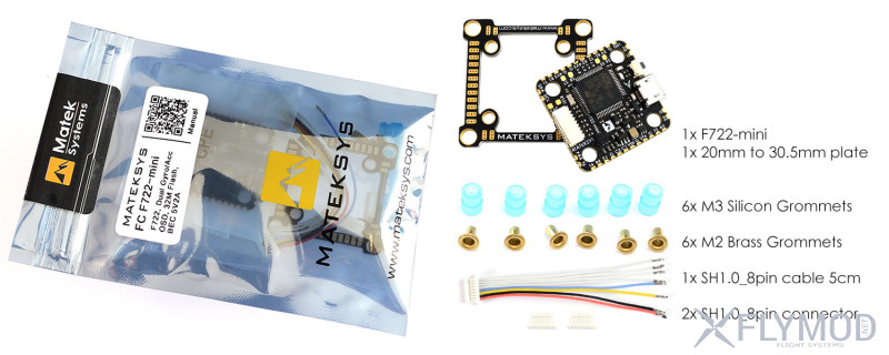 Контроллер полета matek f722-mini с двумя гироскопами systems flight controller osd dual gyro acc 32m flash 5v 2a bec for rc drone